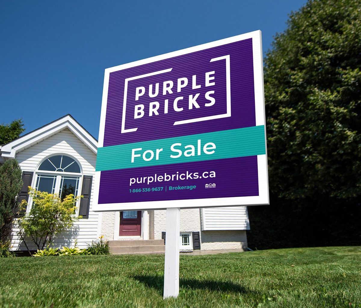 Purplebricks lawn sign in Manitoba.